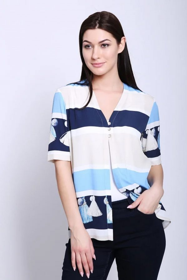 Blue Multi Open Blouse