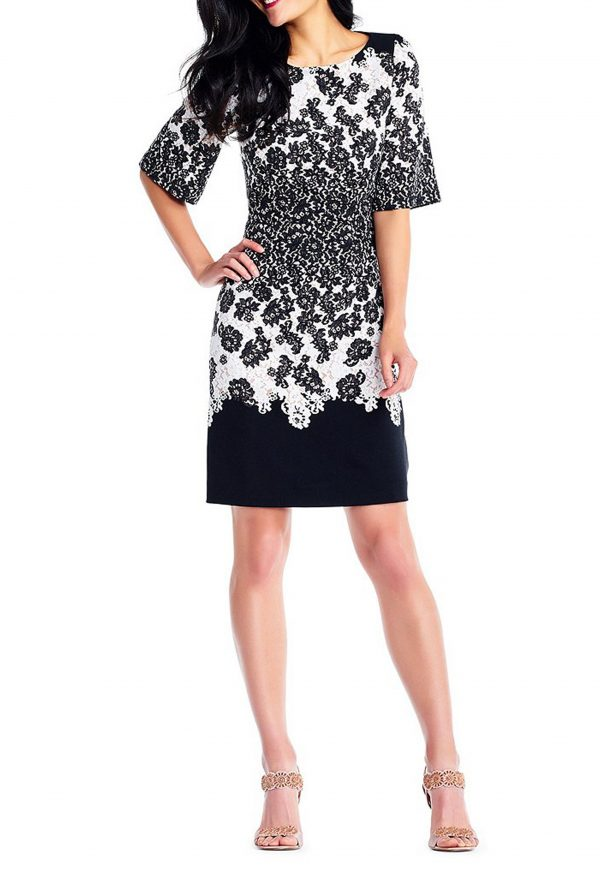 Adrianna Papell Lace Print Dress