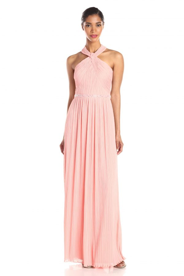 JS Boutique Pleated Halter Gown
