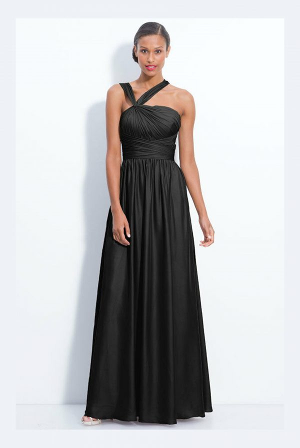 Monique Lhuillier Black Twist Shoulder Gown