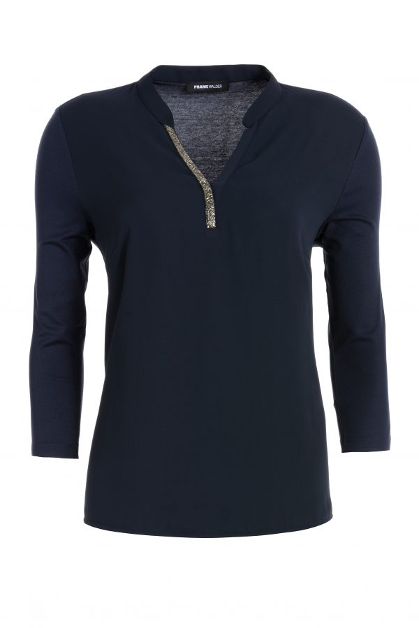 Navy High Neck Blouse