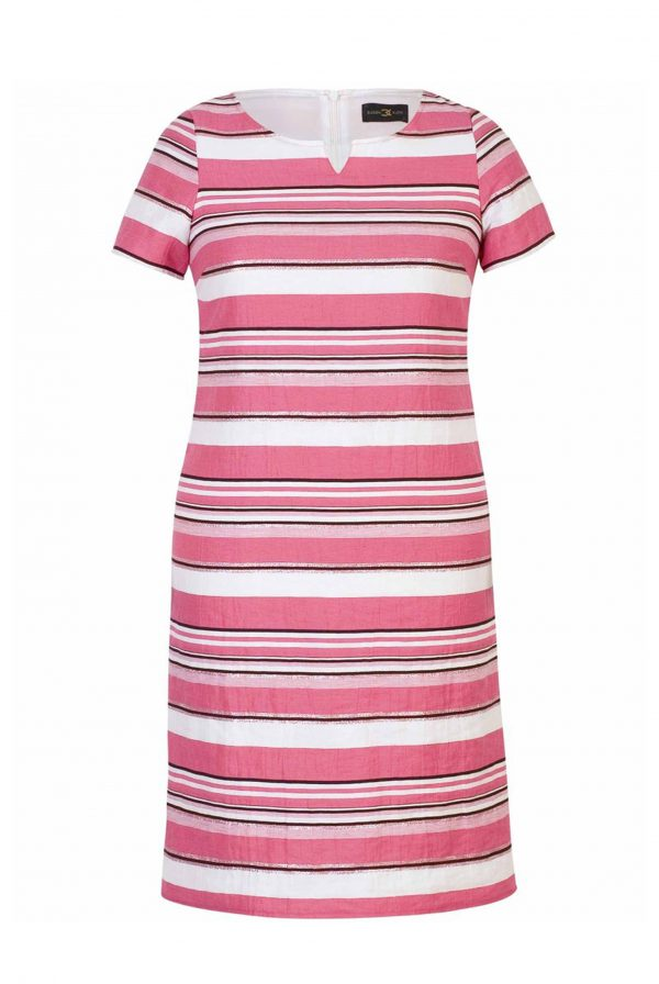 Pink Linen Stripe Dress